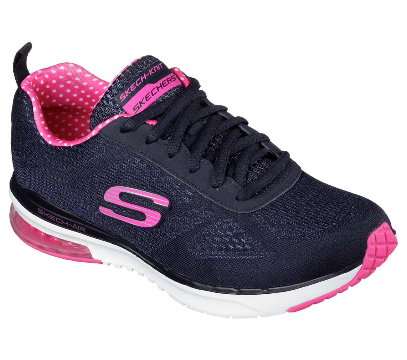 These heathered slip-on shoes are cute and comfy for everyday wear, with bungee laces for a sure fit. From Skechers.