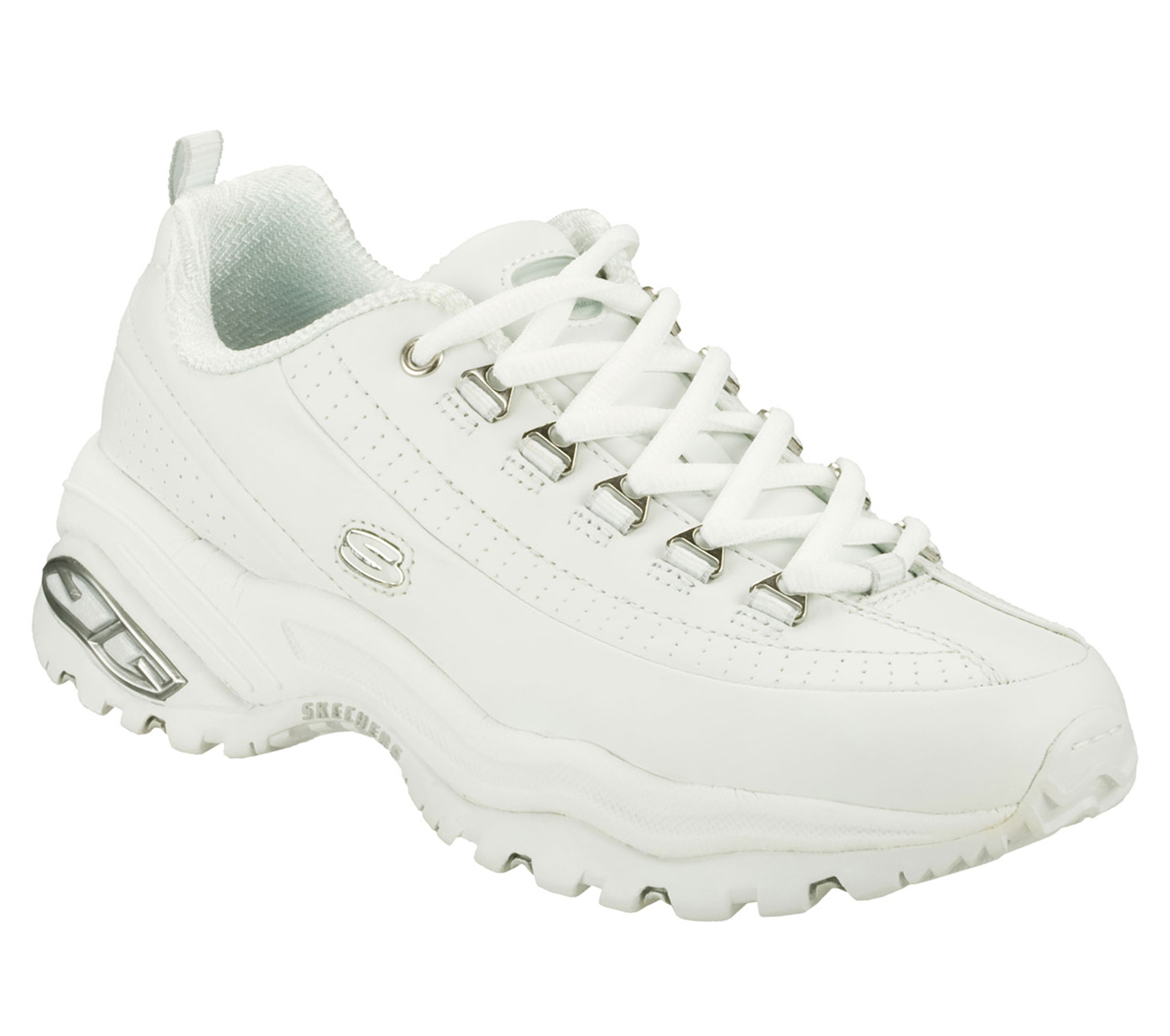Skechers Premiums Women S Lace Up Casual Shoes White