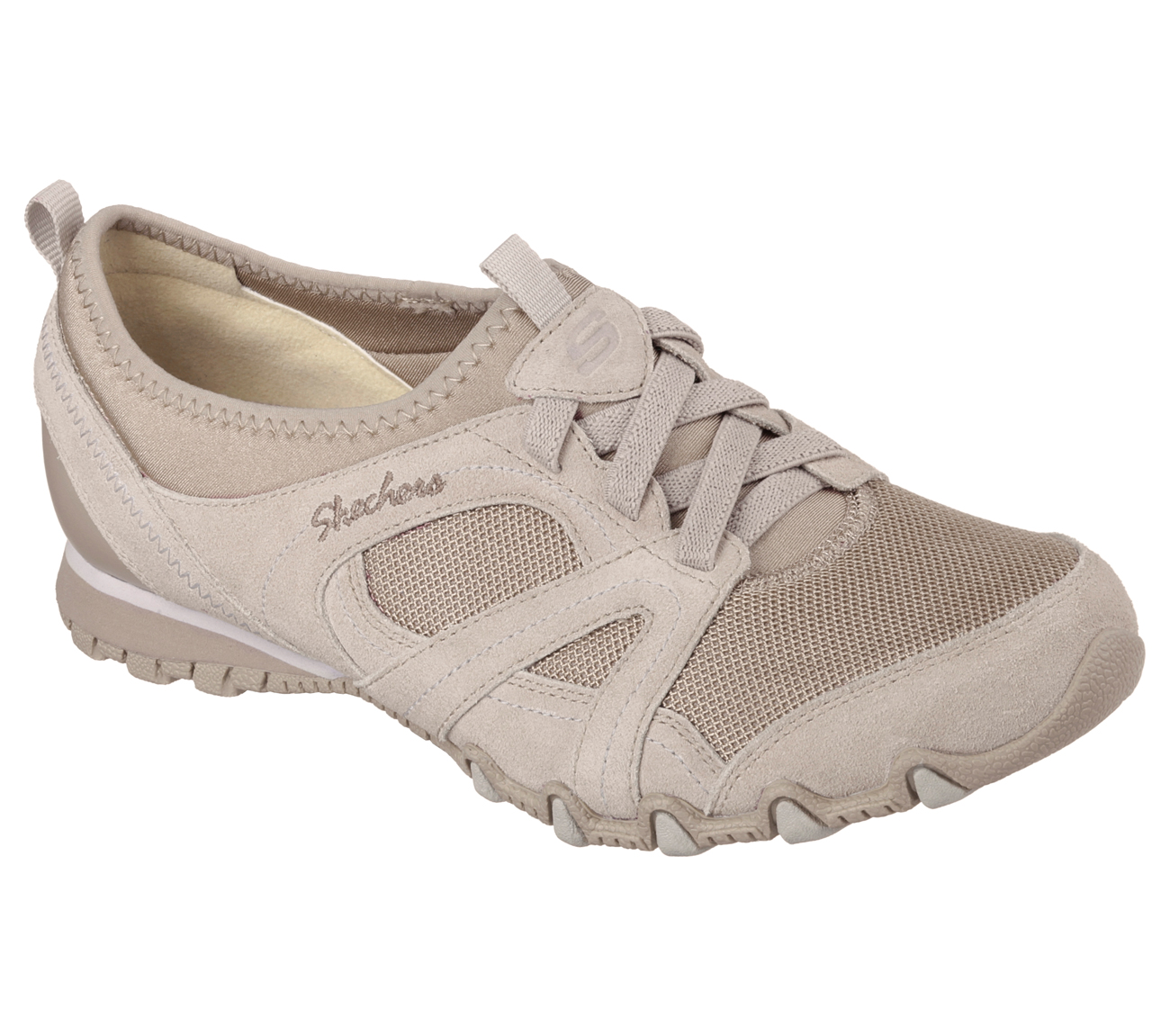 Skechers Women S Relaxed Fit Bikers Taupe Casual Shoe