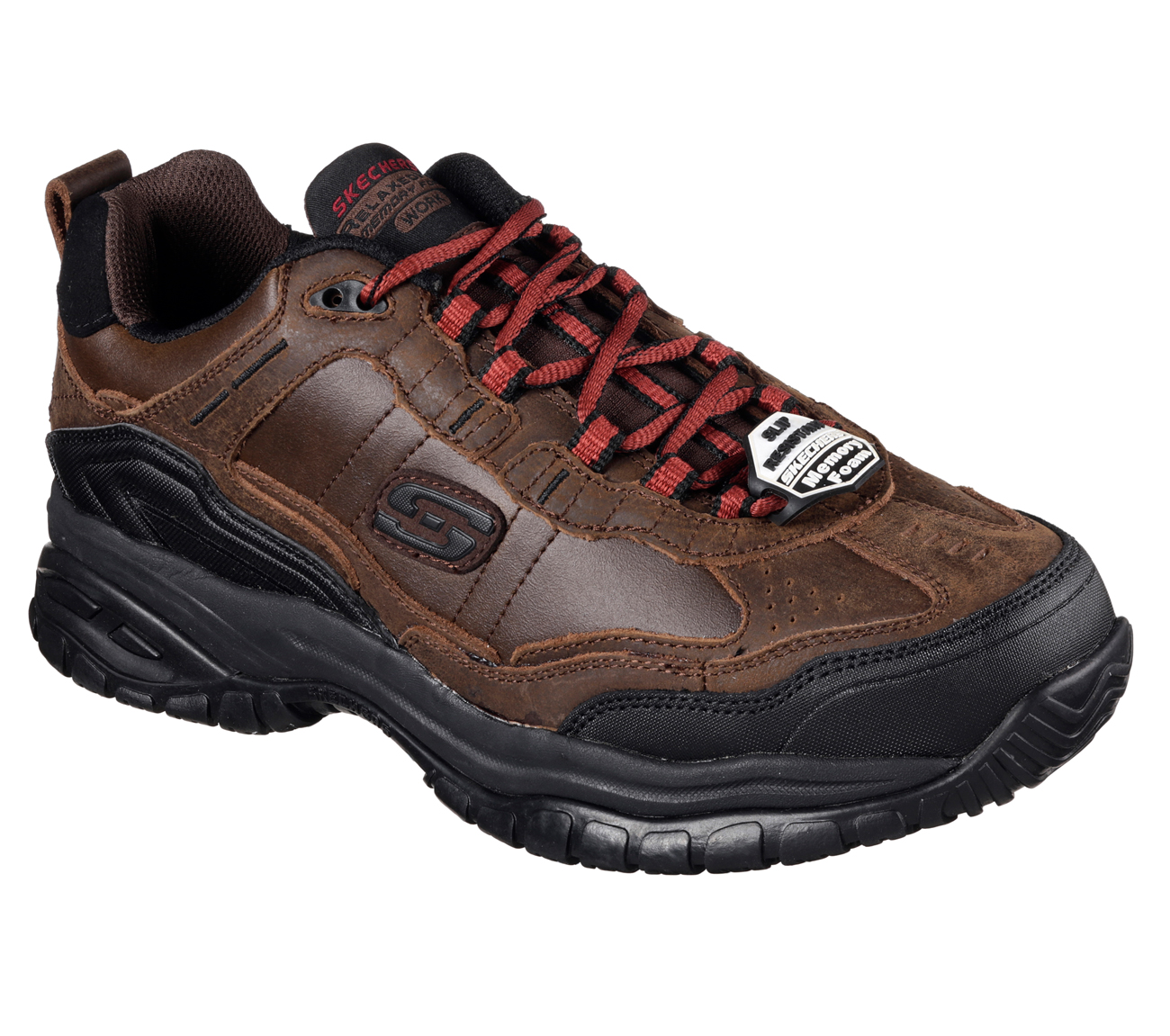 Ease into all day comfort and protection with the SKECHERS Work Relaxed Fit Hartan ST shoe. Smooth durable leather upper in a slip on casual comfort steel toe work moc with stitching and overlay accents. Gel Infused Memory Foam insole. Slip on casual comfort work steel toe shoe/5(60).